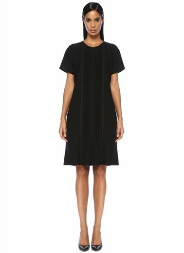 Beymen Collection Güpür Dantelli Pileli Midi Krep Elbise Siyah